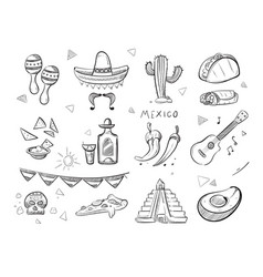 doodle mexican food tequila red hot chili vector image vector image