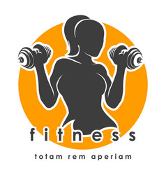 fitness emblem with athletic woman vector image vector image
