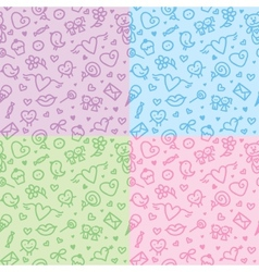 romantic seamless patterns vector image vector image