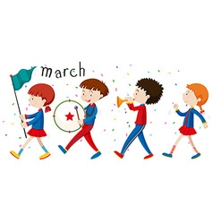 School band marching on the road vector image