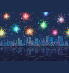 seamless night city landscape with fireworks vector image vector image