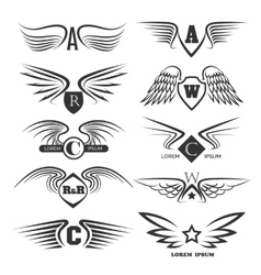 Set of emblems with wings vector image vector image