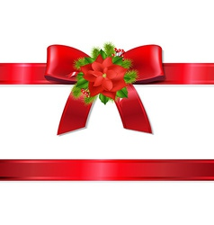 Xmas Red Ribbon And Bow vector image vector image