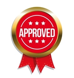 Approved sign badge vector image
