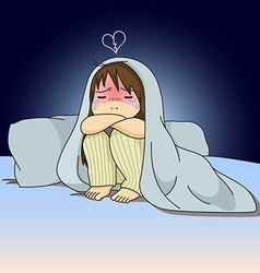 Cry girl sitting on bed vector