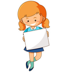 girl holding blank paper on white background vector image vector image