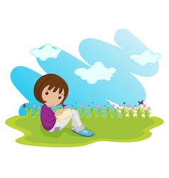 girl sitting vector image