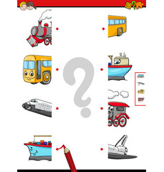 match the halves of vehicle characters vector image vector image