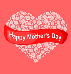 mother rose heart pink vector image vector image