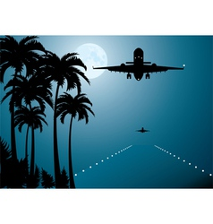 palms moon and plane vector image vector image
