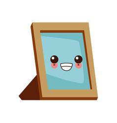 blank picture frame cute kawaii cartoon vector image