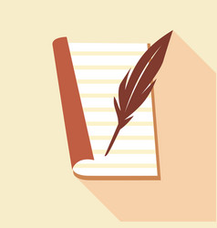feather on paper icon flat style vector image