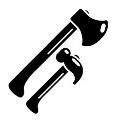 hammer and axe icon simple style vector image