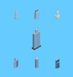 Isometric construction set of skyscraper business vector