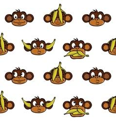 monkey heads background vector image vector image