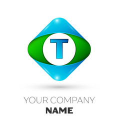 realistic letter t logo in colorful rhombus vector image vector image