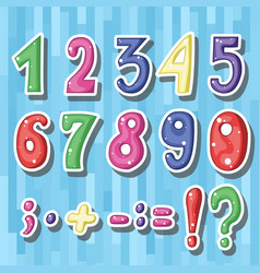 set of cute childish cartoon colored numbers i vector image vector image