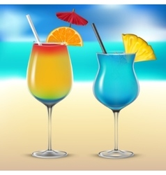 Set transparent cocktail glasses vector image vector image