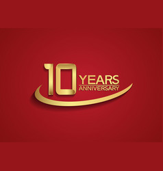 10 years anniversary logo style with swoosh vector