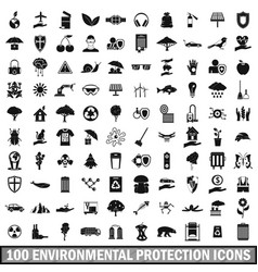 100 environmental protection icons set vector