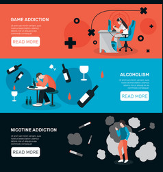Addictions horizontal banners set vector