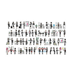 asian business people isolated big set vector image