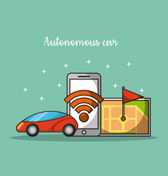 Autonomous car self-driving mobile application in vector