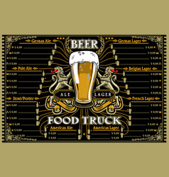 Beer food truck menu and logo vector