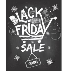 Black friday sale lettering on chalklboard vector
