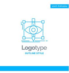 Blue logo design for design draft sketch vector
