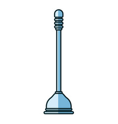 Blue shading silhouette of toilet plunger icon vector