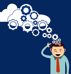 businessman think cloud technology vector image