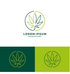 Cannabis round circle logo download line art vector