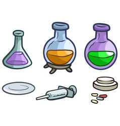 Cartoon laboratory flask pills and syringe vector