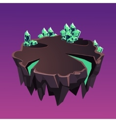 Cartoon Stone Isometric Island with Crystals for vector