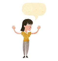 Cartoon woman throwing hands in air with speech vector