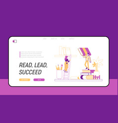 characters reading in library stand on huge vector image