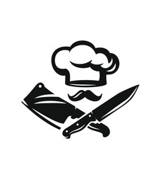 Chef hat with kitchen knife vector