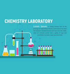 chemistry laboratory concept banner flat style vector image