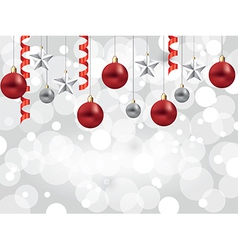 christmas white background balls stars vector image