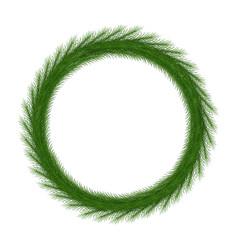 Christmas wreath round frame vector