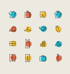 clothes shopping minimal icons vector image