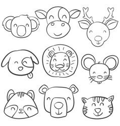 collection animal head of doodle style vector image