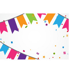 Colorful confetti background with bunting flags vector