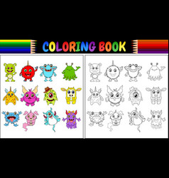 coloring book with monsters cartoon collection vector image