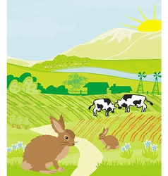 cows and bunnies in green meadow vector image