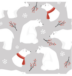 cute christmas seamless pattern white polar bears vector image