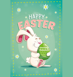 Cute easter bunny carrying a big green egg vector