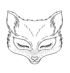 cute fox face character tattoo design for pet vector image
