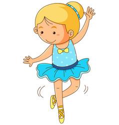 Cute girl doing ballet on white background vector